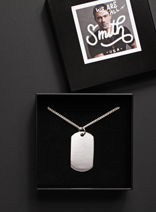 Large Sterling Silver Dog Tag Men's Necklace