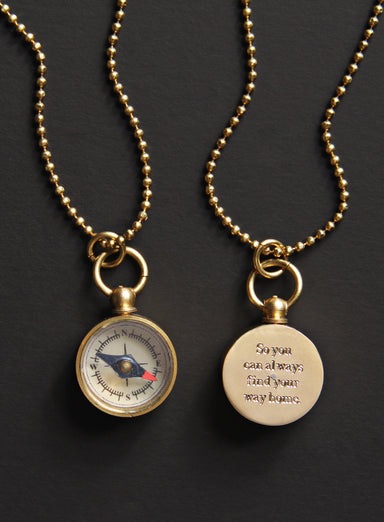 Personalized Mini Gold Compass Necklace for Men