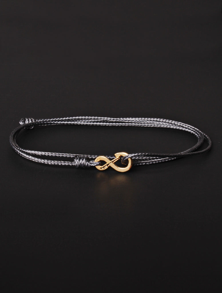 Infinity Bracelet - Gray cord men's bracelet with gold clasp