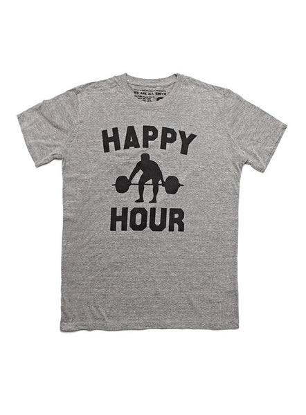"""Happy Hour"" short sleeve heather gray t-shirt"