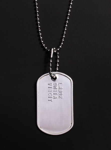 """LABOR OMNIA VINCIT"" (Latin for Hard work conquers all) dog tag necklace"
