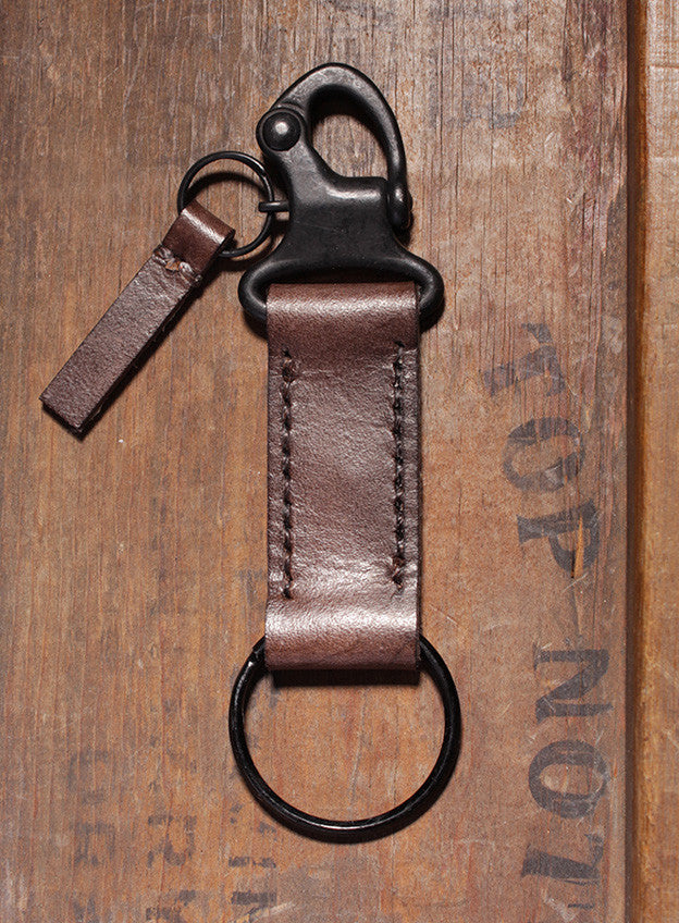 Leather Key Chain with Snap Hook (Brown) (SOLD OUT)