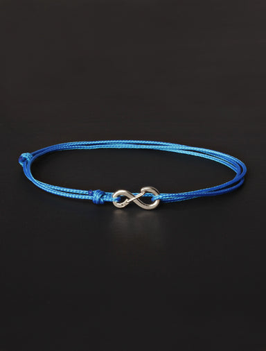 Infinity Bracelet - Light Blue cord men's bracelet with silver clasp
