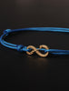 Infinity Bracelet - Light Blue cord men's bracelet with gold clasp