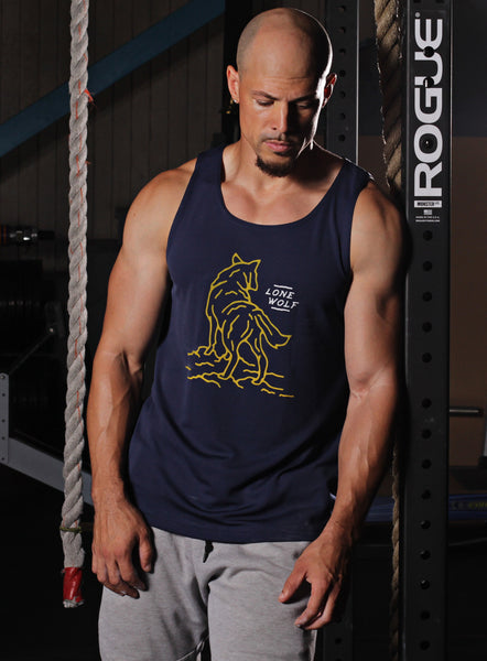 """Lone Wolf"" navy blue dry-wicking tank"
