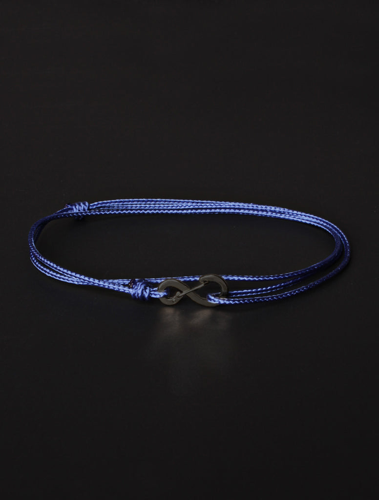 Infinity Bracelet - Blue cord men's bracelet with black clasp
