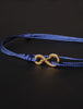Infinity Bracelet - Blue cord men's bracelet with gold clasp