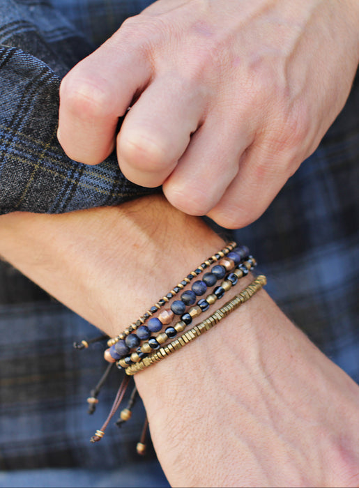 Blue Glass and Brass Beaded Men's Bracelet