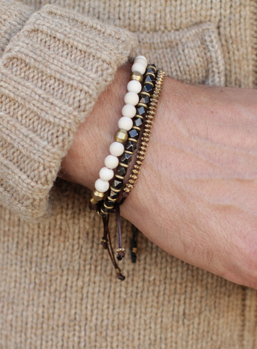 Gunmetal and Brass Beaded Men's Bracelet