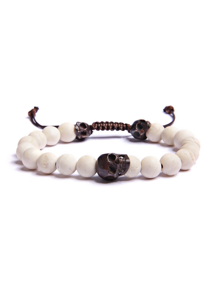 Triple Skulls Beaded Men's Bracelet