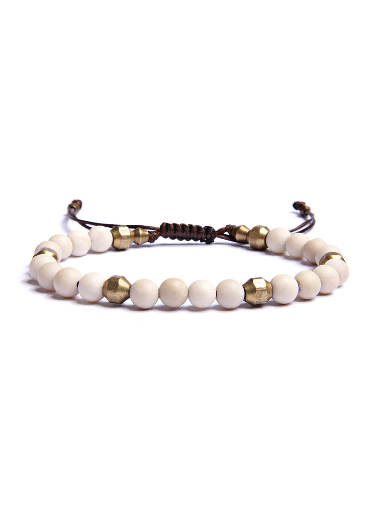 White Turquoise and Raw Brass Bead Bracelet for Men.