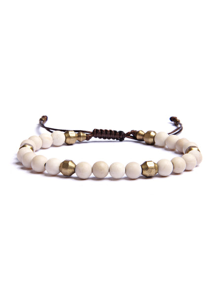 Riverstone and Raw Brass Bead Bracelet for Men.