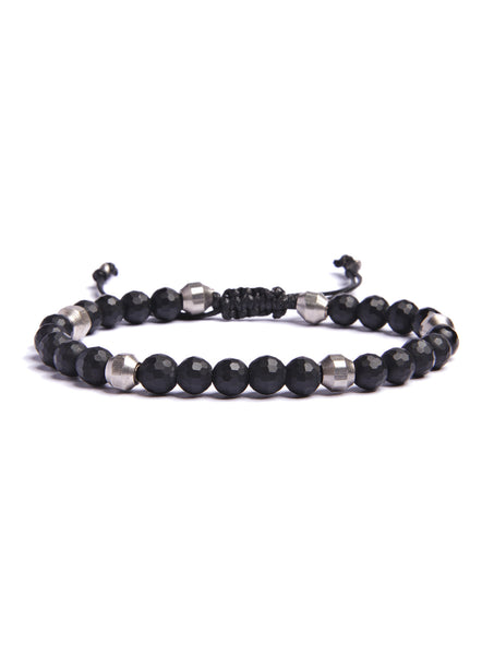 Faceted Black Onyx and Silver Bracelet for Men