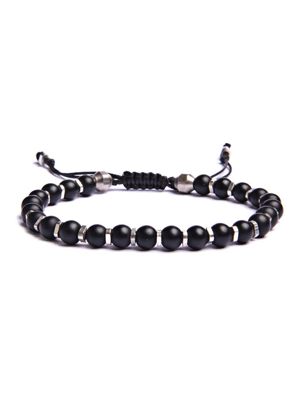 Black Glass and Silver Beaded Men's Bracelet