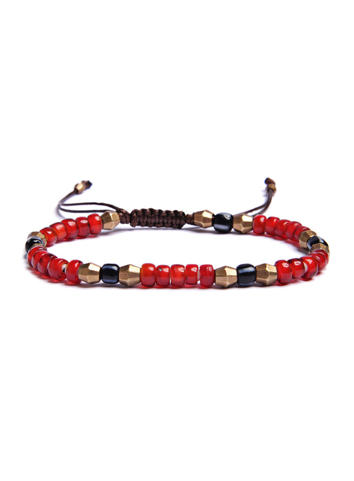 White Heart Beaded Men's Bracelet