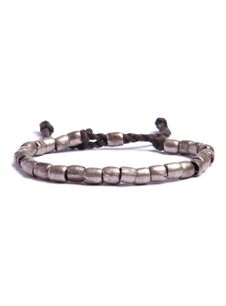 Thick Silver Tubes and Rope Bracelet for Men