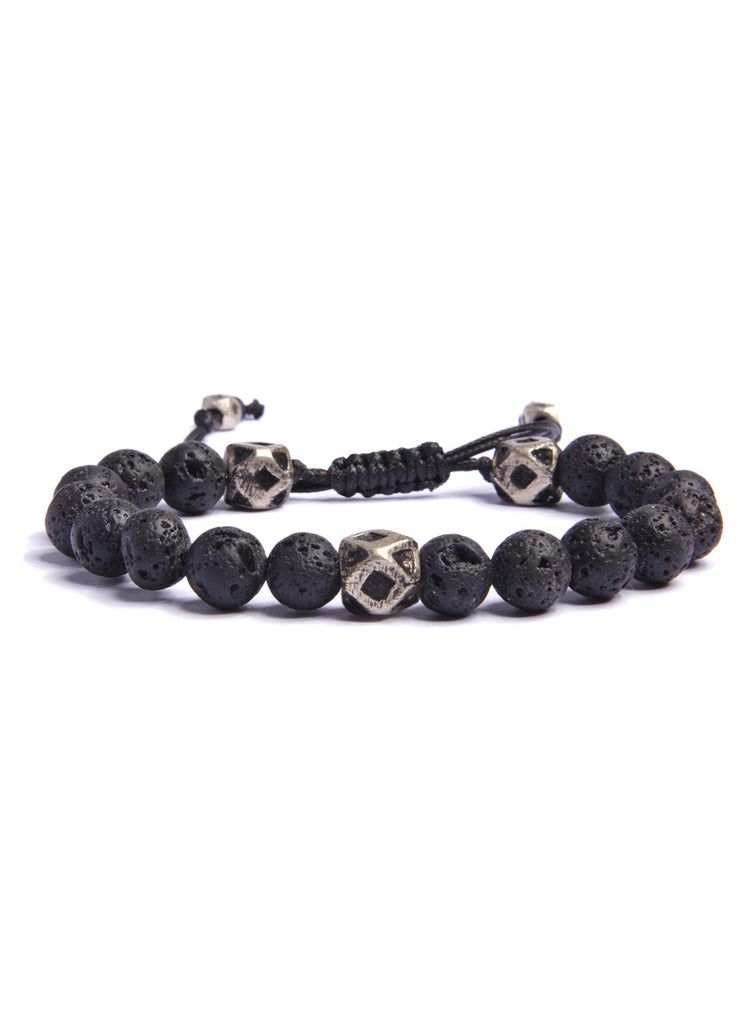 Lava Stone Beaded Men's Bracelet