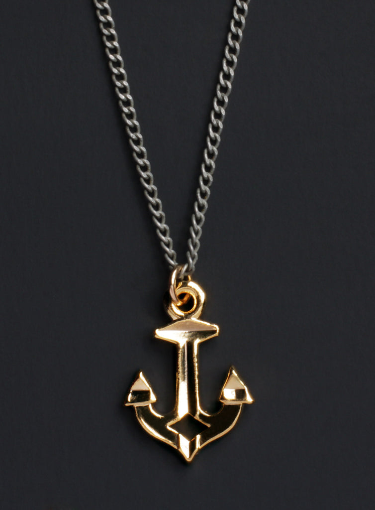 Gold Nautical Anchor Necklace for Men