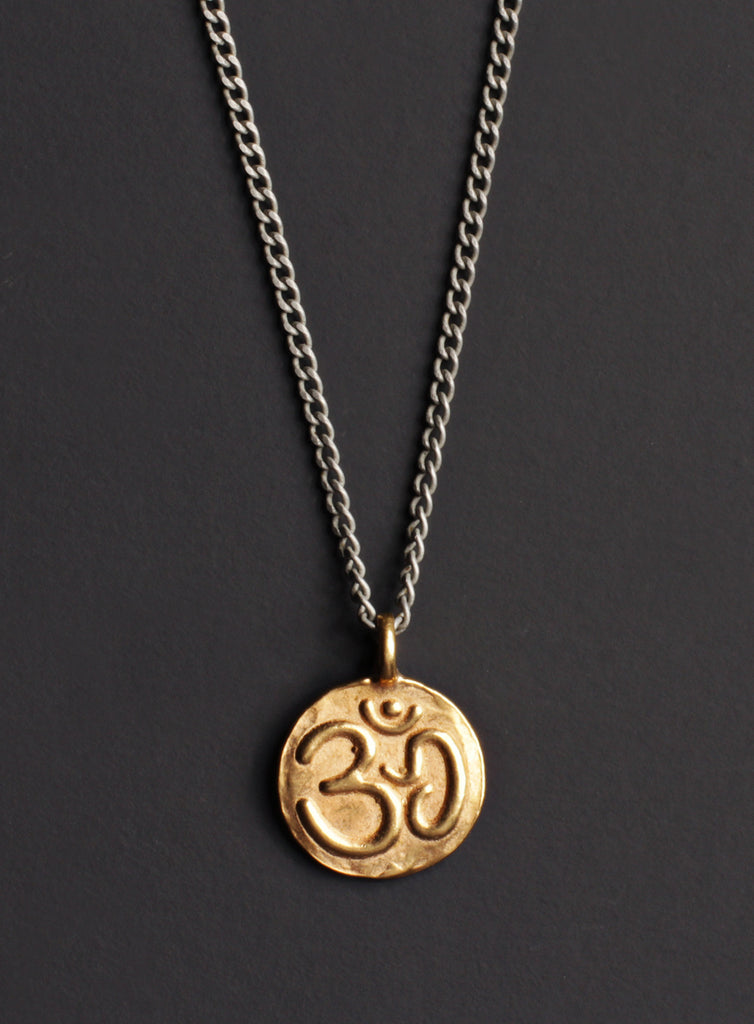 Vermeil gold om lotus necklace for men we are all smith mens vermeil gold om pendant for man mozeypictures Choice Image
