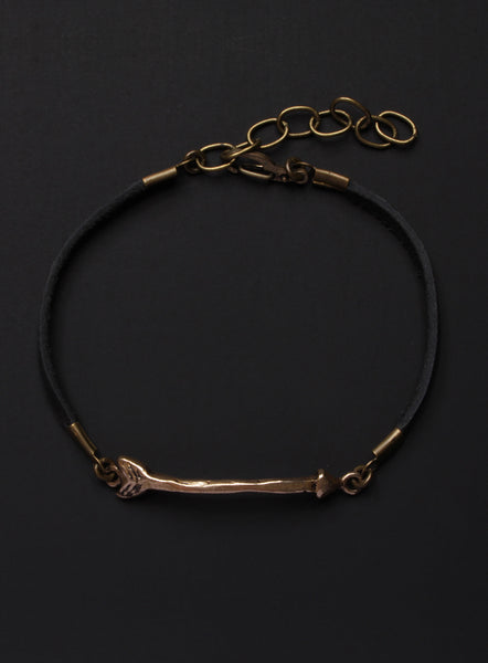 WAAS X MIRANDA OLDROYD Unisex Bronze + Leather Arrow Bracelet