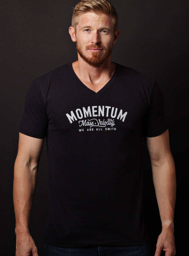 """Momentum"" black short sleeve v-neck t-shirt"