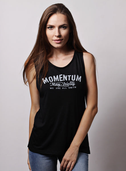 """Momentum"" black flowy scoop muscle tank for women"