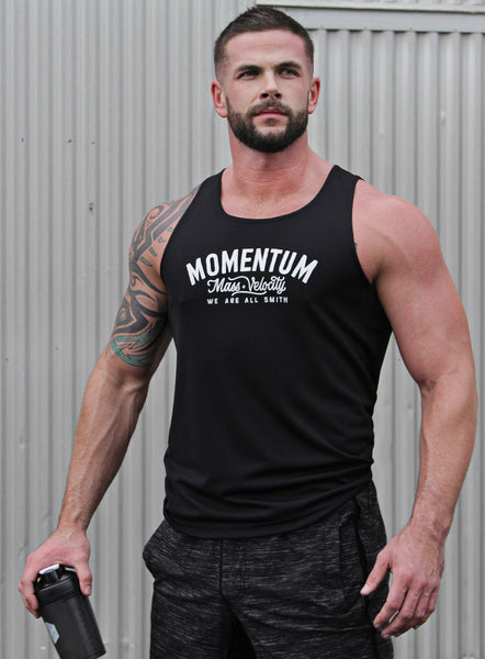 """Momentum"" black dry-wicking tank"