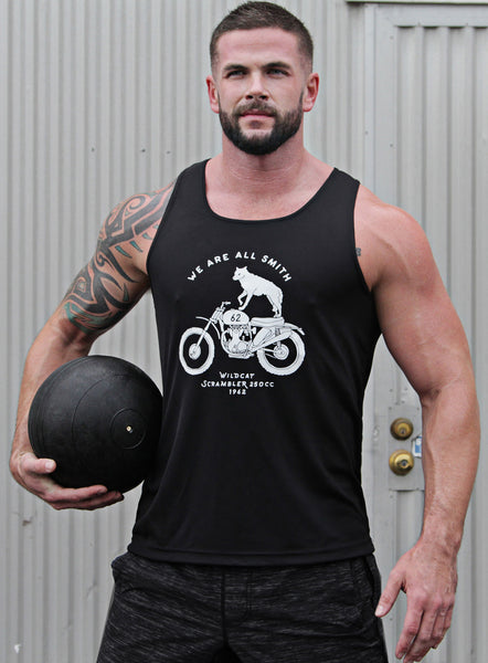 """Wildcat"" black dry-wicking tank"