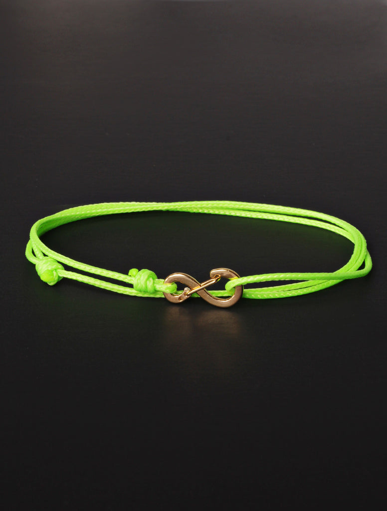 Infinity Bracelet - Neon Green cord men's bracelet with gold clasp