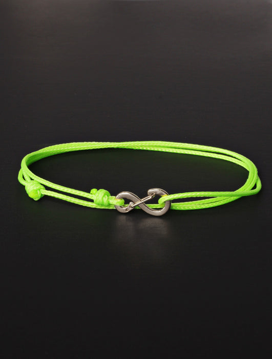 Infinity Bracelet - Neon Green cord men's bracelet with silver clasp