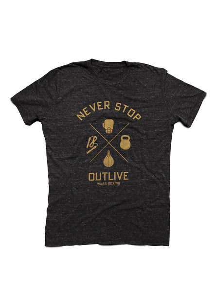 """Never Stop / Outlive"" tri-black crewneck t-shirt"