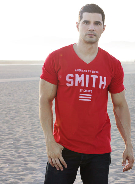 """American by Birth"" Red V-Neck Tee"