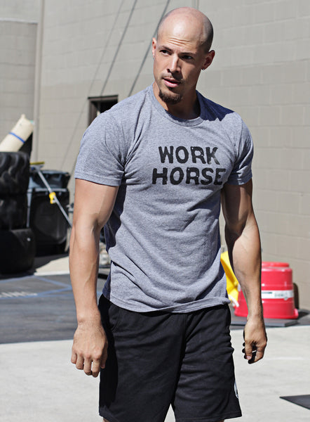 """Workhorse"" short sleeve heather gray t-shirt"