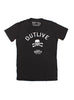 """Outlive"" black short sleeve t-shirt"