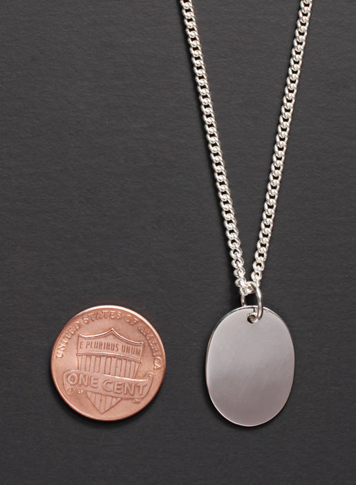 Oval Sterling Silver Tag Men's Necklace