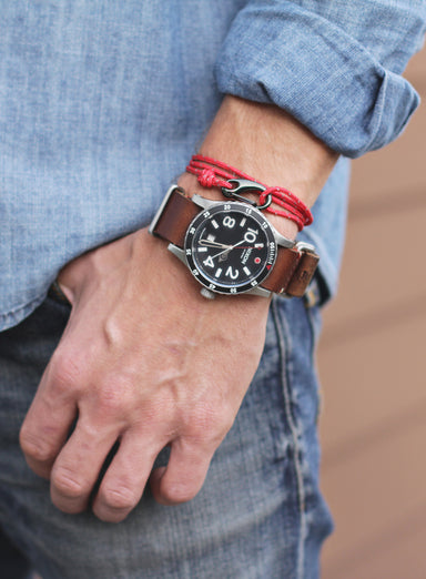 """Quarterdeck"" Red + Gunmetal Tactical Cord Bracelet (02K)"