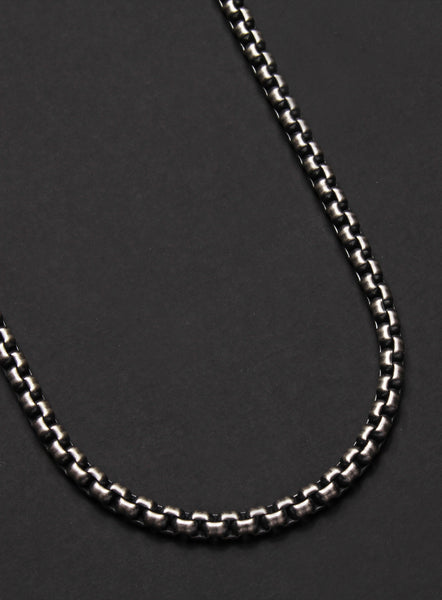 3105c0dd6 OXIDIZED STERLING SILVER ROUND BOX CHAIN MEN'S NECKLACE – WE ARE ALL SMITH:  Men's Jewelry & Clothing.
