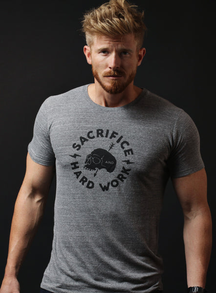 """Sacrifice & Hard Work"" heather gray short sleeve t-shirt"