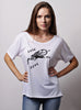 """Save my Soul"" white slouchy tee for women"