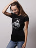 """Wildcat"" black poly/cotton tee for women"