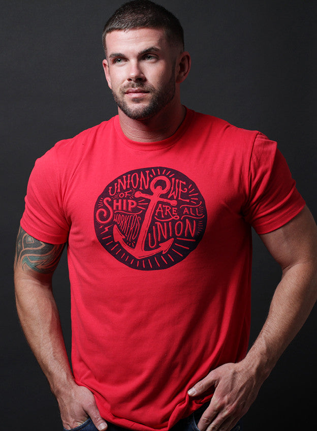 """Union of Shipworkers"" short sleeve red t-shirt"