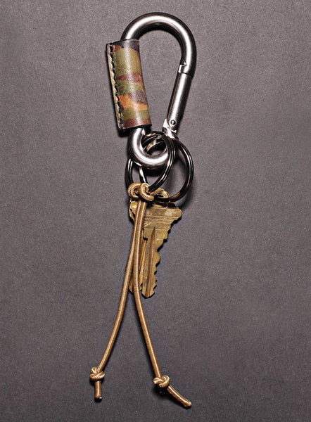 Distressed Camo Leather Carabiner Keychain for Men