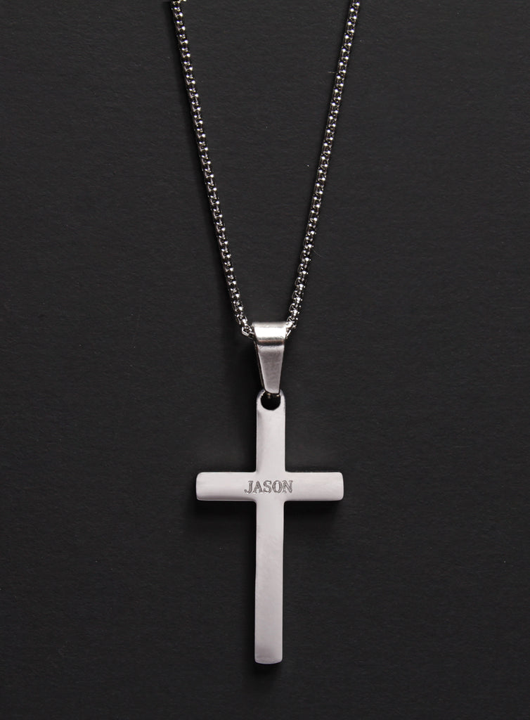 PERSONALIZED STAINLESS STEEL CROSS NECKLACE FOR MEN