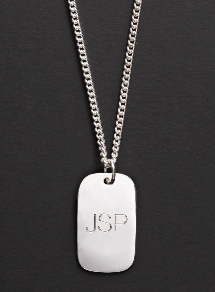 Small Sterling Silver Dog Tag Men's Necklace