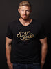 """Stay Gold"" black v-neck short sleeve t-shirt"