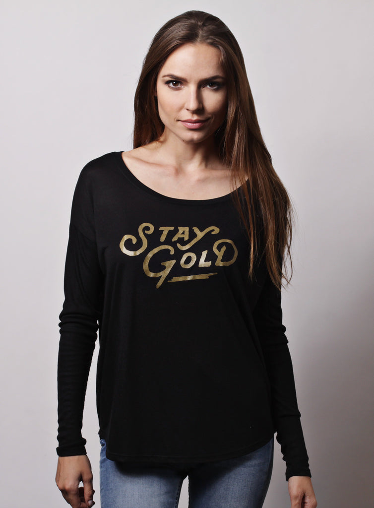 """Stay Gold"" black flowy long sleeve tee w/ 2x1 sleeves for women"