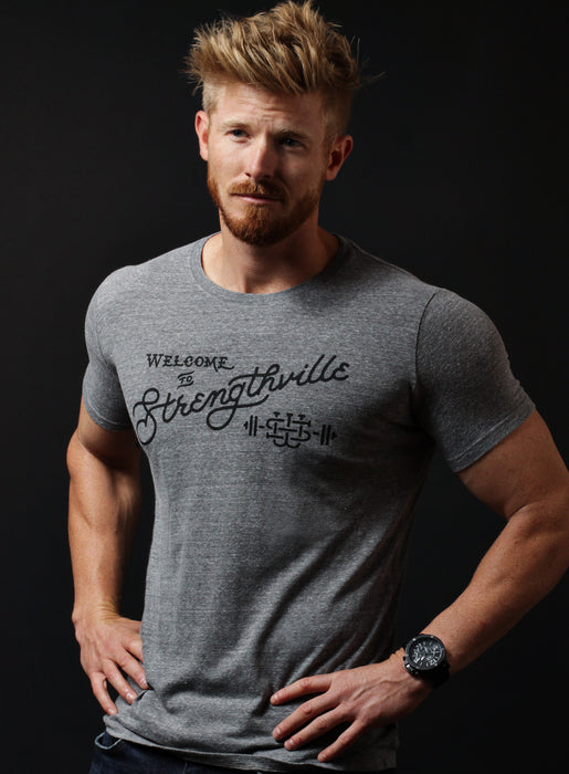"""Welcome to Strengthville"" heather gray short sleeve t-shirt"