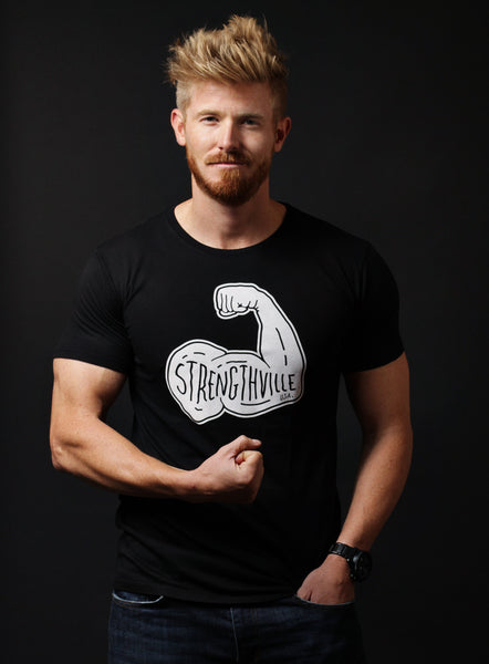 """Strengthville, USA"" black crew neck t-shirt"
