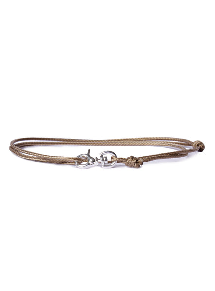"""Propeller"" Sterling Silver Micro Cord Bracelet in Brown"