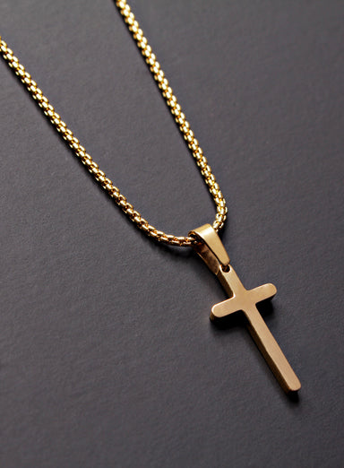 MINI GOLD CROSS NECKLACE FOR MEN